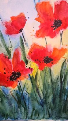 Blooming summer wildflowers Watercolor Poppies, Abstract Watercolor, Ww1 Photos, Watercolor Paintings For Beginners, Diy Canvas Art, Abstract Flowers, Floral Watercolor, Colourful Art, Canvas Art