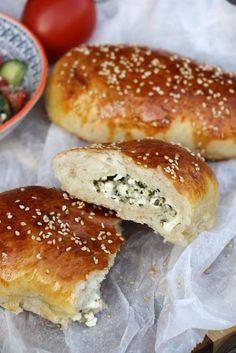 Recipe: Poğaça - Turkish dumplings with feta cheese- Rezept: Poğaça – Türkische Teigtaschen mit Schafskäse Poğaça with sheep& cheese – recipe Turkish … - Lunch Recipes, Smoothie Recipes, Dinner Recipes, Beef Recipes, Yummy Recipes, Chicken Recipes, Dumpling Recipe, Dumplings, Feta Cheese Recipes
