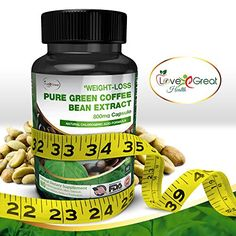 Pure Green Coffee Bean Extract 800mg 60 Capsules 50 Chlorogenic Acid  Appetite Suppressant Supplement Helps Leptin Levels  Helps Women and Men Lose Weight Burn Fat  Made In USA No Side Effects *** Click image to review more details.Note:It is affiliate link to Amazon.