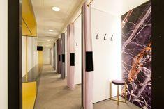 Sheryl Leysner | Interior Architecture & Project Management | De Bijenkorf | Amsterdam | Fitting rooms | Retail | Trend | Black gold | Purple marble print |