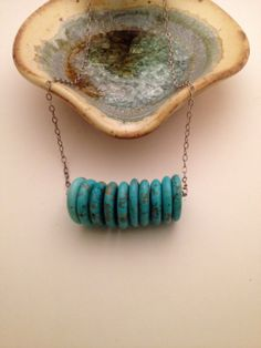 Handmade Short Necklace with Magnesite Disc Beads