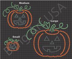 Jack O Lantern Rhinestone Sticky Flock Pattern Design Download File EPS PLT SVG PDF Stencil Template Bling Art