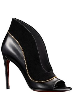 Louis Vuitton Black Ankle Boot Sandal with Gold Detail Pre-Fall 2014 #Shoes #Heels #Booties