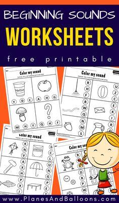 Beginning Sounds Kindergarten, Beginning Sounds Worksheets, Kindergarten First Day, Kindergarten Reading, Early Literacy, Free Kindergarten Worksheets, Phonics Worksheets, Reading Worksheets, Kindergarten Curriculum