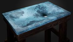 """Design sink """"Thor's Well"""" handmade of concrete color """"Caribbean blue"""" in the single copy. Free delivery to the USA and EU"""