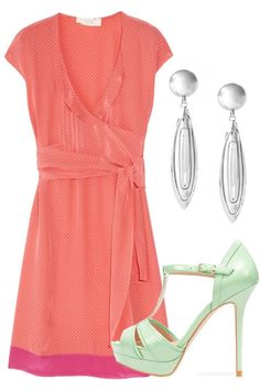 WEDDING GUEST OUTFITS  There's never a better time to try out some colour than at a wedding. Don't be afraid to clash colours, such as this pink Vanessa Bruno Athe dress and these icy mint green heels from Zara.
