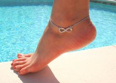 Infinity Anklet with Rhinestone by DeliBejeweled on Etsy, $9.99