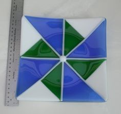 Fused glass dish Gift ideas Blue Green White by Glasspainter1