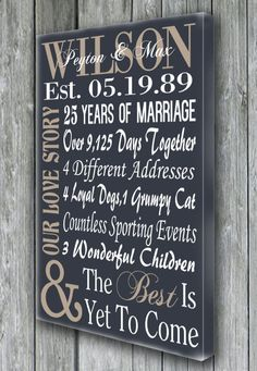 Personalized 5th 15th 25th 50th Anniversary By Doudouswooddesign 30th Gifts For Parents25th Wedding