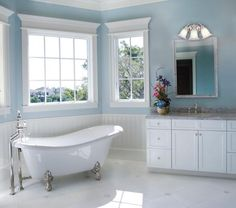 Vintage baths are back! Featuring vintage bathroom fixtures, bathroom lighting, vintage bath design tips and resources. Best Blue Paint Colors, Best Gray Paint, Paint Colours, Grey Paint, Soft Colors, Blue Bathrooms Designs, Vintage Bathrooms, Bathroom Remodeling Contractors, Home Remodeling