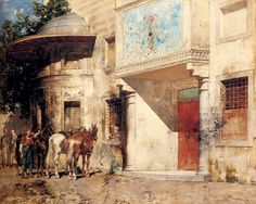 Alberto Pasini (1826-1899)  - Outside the Mosque