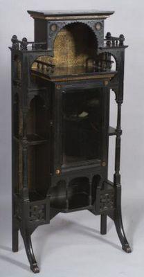 Aesthetic Movement Etagere Cabinet, Moorish Arches, Ebonized, Gold Gilt