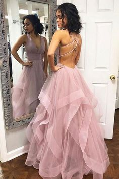 custom drsses Blush Pink Ruffles Ball Gown Criss-Cross Backless Prom Dresses V-neck Long Prom Dress Tulle Evening Dress Formal Gowns Hot Prom Gowns Prom Dresses Long Pink, Straps Prom Dresses, Open Back Prom Dresses, Backless Prom Dresses, Ball Dresses, Ball Gowns, Dress Prom, Pastel Prom Dress, Dresses Dresses