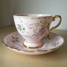 Tuscan Pink Vintage Tea Cup and Saucer, Pink Flower Teacup and Saucer, English Floral Bone China, Princess Tea Party by CupandOwl on Etsy