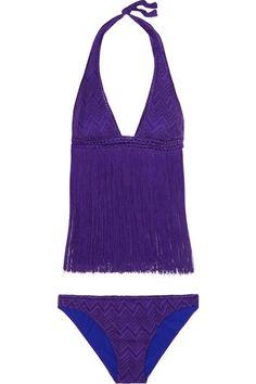 Missoni - Mare Fringed Crochet-knit Bikini - Purple - IT