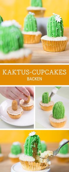 Originelle Rezeptidee: Cupcakes in Form von Kakteen backen, Party Rezepte / party food recipe: how to make cactus cupcakes via DaWanda.com