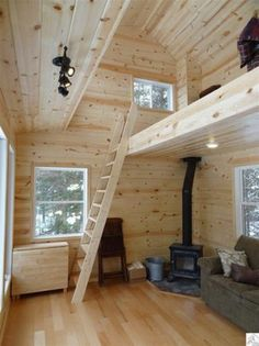 Loft running the length of one side. Have an L shaped loft with closed off storage on short side for camping gear l form 240 Sq. Tiny Log Cabin on 100 Acres For Sale! Tiny Log Cabins, Cabins For Sale, Tiny House Cabin, Tiny House Living, Cabin Homes, Log Homes, Cabin Loft, Cabin Plans With Loft, Small Cabins