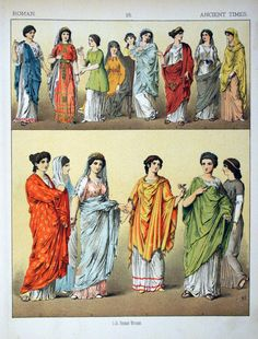 The women here are all wearing the traditional garments of the Roman women. Their tunics length is down to the elbow, women weren't allowed to show their full arm. Over their tunics they wore their Palla  and most of the women in the image are married because they are wearing a Stole. A Stole is like a chiton with various ruffles and usually had a metal brooch.