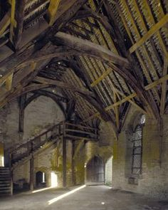 Stokesay Castle, interior of main hall, Shropshire, England.