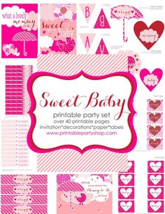 Sweet Baby Pink Baby Shower Printable Party Set -Free for members- tons of printable sets- become a member & download ALL of them- www.printablepartyshop.com