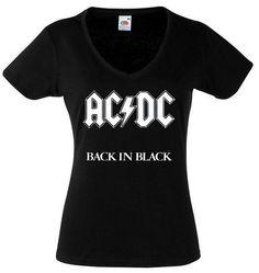 AC/DC Shirt Back in Black Hard Rock Ac Dc Shirt by RollingTheRock, $13.99