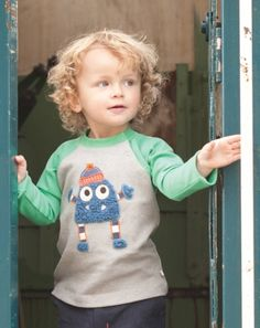 Monster Raglan Top £18 - Organic Clothes By Frugi -  company selling organic cotton & fair trade clothes for babies, kids & mums.  http://www.welovefrugi.com/ http://www.pinterest.com/welovefrugi/we-love-organic-cotton/