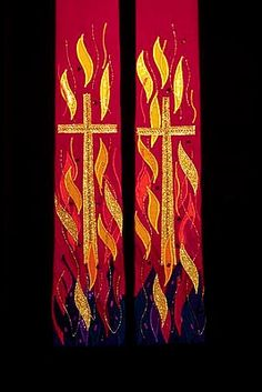Pentecost: beautiful banners that could be hung at the entrance or in the worship space. If the cross was not there you could drape one on each side of the altar so it would hang towards the front. Could be stunning!