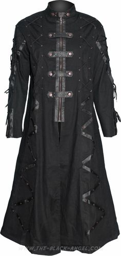 Gothic steampunk coat for men, with straps and antiqued metal parts, by Raven SDL.