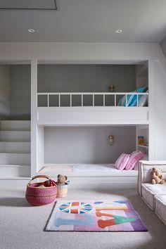 Built-in Bunk Beds in Kids& Bedroom Ideas on HOUSE by House & Garden. Fun id. Built-in Bunk Beds in Kids& Bedroom Ideas on HOUSE by House & Garden. Fun ideas for kids& bedrooms that don& scrimp on style Bunk Beds Built In, Modern Bunk Beds, Bunk Beds With Stairs, Kids Bunk Beds, Built In Beds For Kids, Loft Beds, Bed Ideas For Kids, Bunk Beds For Girls Room, House Bunk Bed