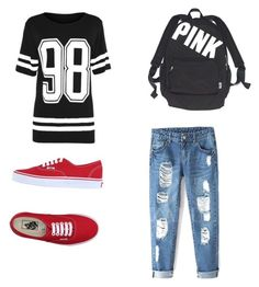 """Heading to the game"" by shannonridge on Polyvore featuring Victoria's Secret and Vans"
