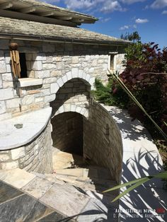 Details of a residential mansion _ passage Stone Mansion, Bedroom Lighting, Architecture Design, Swimming Pools, Greece, Restoration, Mountain, Construction, Traditional