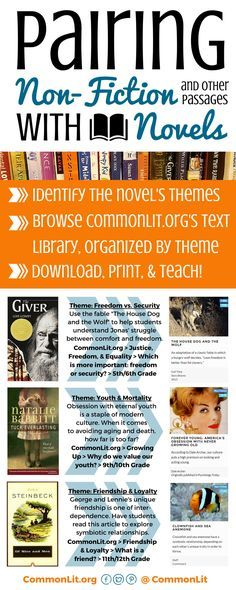 Looking for FREE informational texts, short stories, poems, or historical documents to integrate into your novel units? Use CommonLit's collection, organized by themes, to find and download hundreds of relevant short passages that will prompt college-level discussions in your classroom.