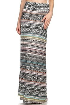Women's New Linear Static Print Chic Maxi Skirt.