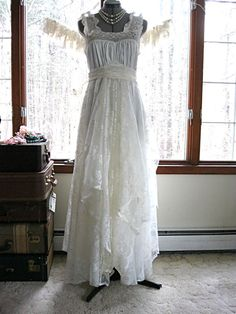 SMALL Floor length vintage white and off white by LilyWhitepad