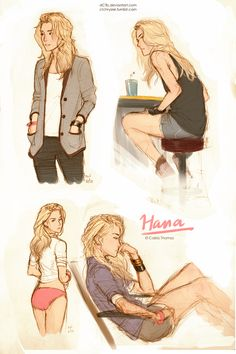 Colored in some trad sketches of Hana real quickly. I've been having a lot of fun drawing her lately!