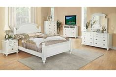 Glory Furniture Bedroom Set with Full Size Bed + Dresser + Mirror + Single Nightstand + Chest, in White White Full Bedroom Set, Full Size Bedroom Sets, 5 Piece Bedroom Set, King Bedroom Sets, Queen Bedroom, Master Bedroom, Full Bedroom Furniture Sets, Contemporary Bedroom Sets, Furniture