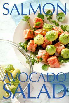 Mustard Marinated Wild Alaskan Salmon and Avocado Salad with Watercress - SippitySup