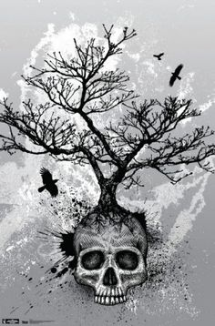 with more of a tree of life with roots over the skull and the top branches burn into the phoenix bird