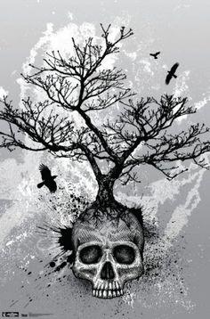 Skull - Tree Poster