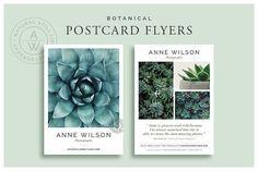 Botanical Postcard Flyers by White Box Design Studio on @creativemarket