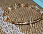 Clear, Peach and Gold Rhinestone Sideways Cross Bracelet for Modern Style, Layering, Teens, Faith, Mother's Day, Easter, & Communion