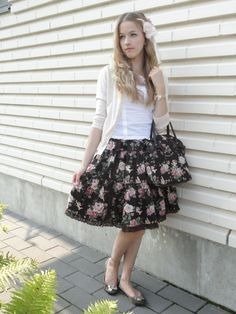 Lovely floral dress with Bata Flats featured by Alice from Finland