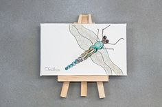 Original painting mini watercolor easel art.  Hand by HammerToLace