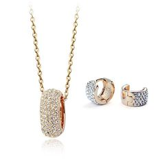 Authentic Austrian white crystal 18k gold plated simple love necklace earrings jewelry set [JS535] - US$13.13 : www.evernewfashion.com