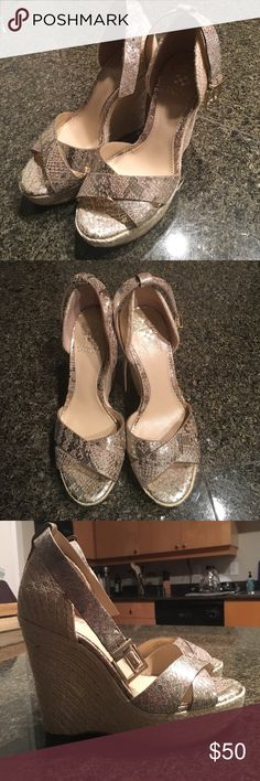 Vince Camuto wedges - never worn before Silver/gold pattern Vince Camuto Shoes Wedges