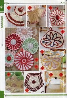 Free vintage crochet hot pads, pot holders, dishcloth patterns. Dress, pants, flower, square designs.