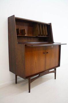 Icon of Mid Century Secretary Desk Fits Office with Elegant Hunter