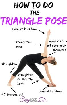 Triangle yoga pose stimulates digestion and the abdominal organs