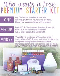 <3 The ultimate essential oil bundle!!! Hook up 4 friends & you will get yours 100% free!! What's holding you back from this oily journey? Enroll with the ultimate Young Living product and business experience! An extraordinary value that offers a comprehensive introduction to the power of essential oils, the Premium Starter Kit is the perfect option for those who are serious about transforming their lives. Your Premium Starter Kit Includes: Dewdrop™ Diffuser Premium Essential Oils…