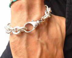 chain link sterling silver chunky bracelet heavy wide solid 925 men cuban new #symbolina #Chain